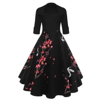 Blossom Printed Vintage Swing Dress