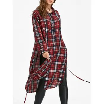 Long Sleeve Button Down Checked Dress with Tie