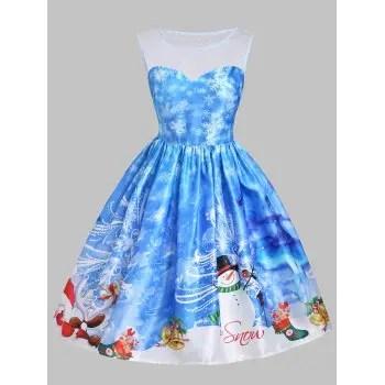 Christmas Snowman Snowflake Mesh Panel Dress