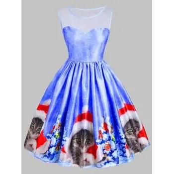 Christmas Cat Snowflake Mesh Panel Dress