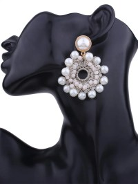 2017 Faux Pearl Beaded Round Floral Earrings WHITE In ...