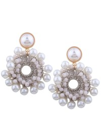2017 Faux Pearl Beaded Round Floral Earrings WHITE In