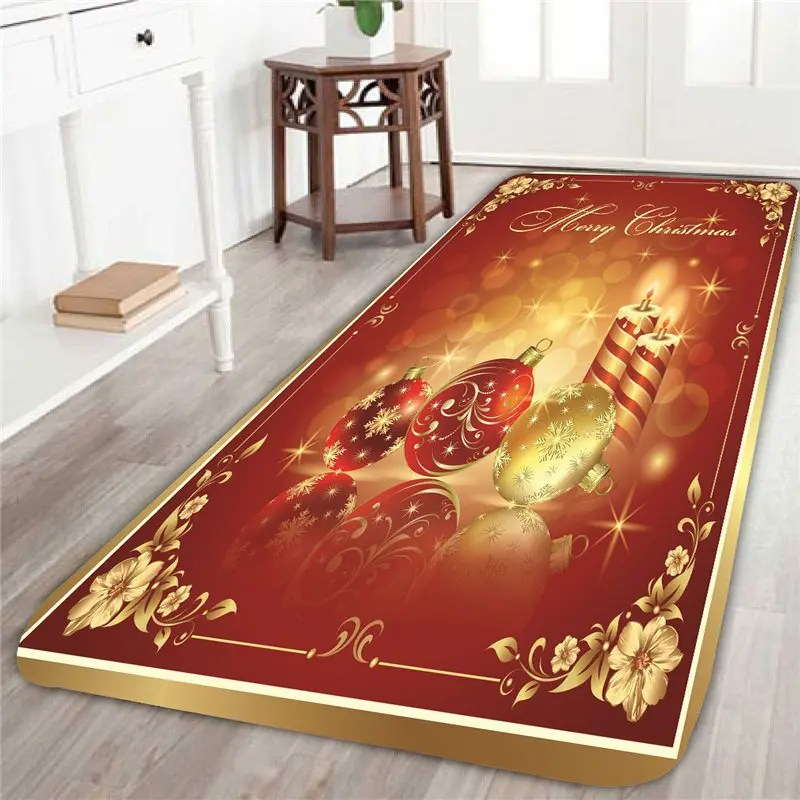 2018 Christmas Balls And Candles Patterned Area Rug RED