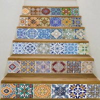 2018 Bohemian Ceramic Tiles Patterned Staircase Stickers