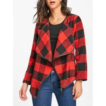 Plaid Asymmetric Jacket