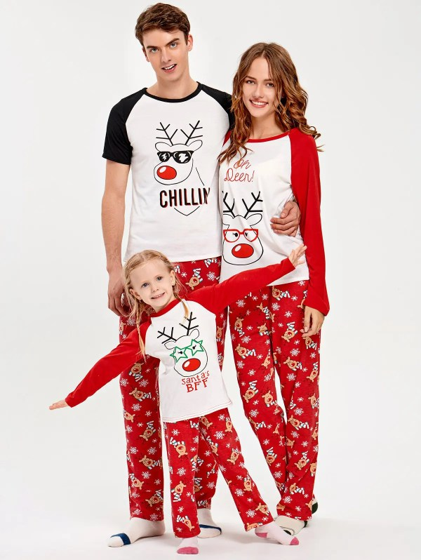 2018 Rudolph Deer Matching Family Christmas Pajama RED MOM