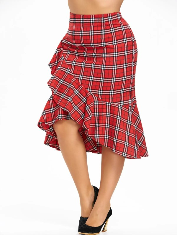 2018 Size Plaid Ruffle Mermaid Skirt Red Xl In Bottoms Online Store