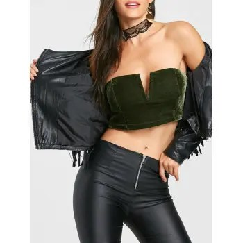 Velvet Tube Crop Top