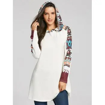 Tribal Totem Print Hooded Knit Top