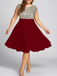 2018 Plus Size Sequin Sparkly Cocktail Dress WINE RED XL ...