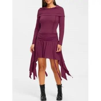 Bertha Collar Ruched Dress