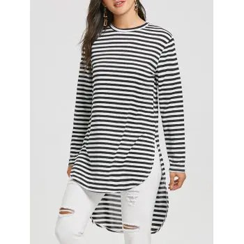 Slit Striped Top
