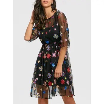 Embroidery Floral Tulle Dress with Cami Dress