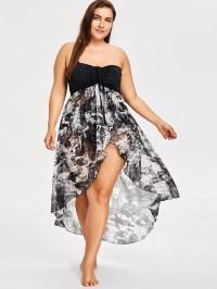 2018 Plus Size Strapless Dip Hem Dress WHITE/BLACK XL In ...