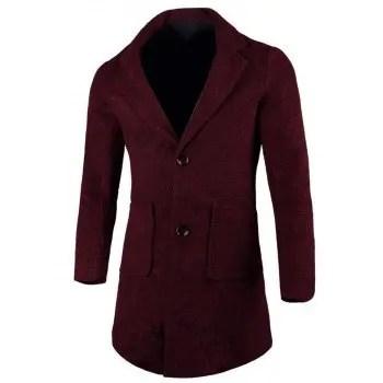 Lapel Two Button Wool Blend Coat