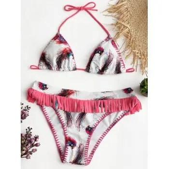 Bird Feathers Print Halter Bikini Suit