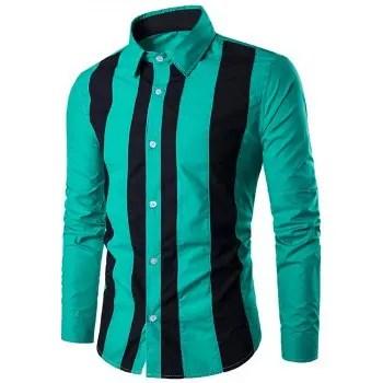 Contrast Vertical Stripe Long Sleeve Shirt