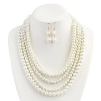 2018 Beaded Faux Pearl Wedding Jewelry Set WHITE In ...