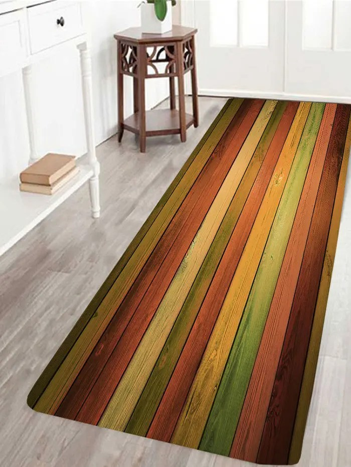 2018 vintage colorful laths printed skidproof area rug colorful w