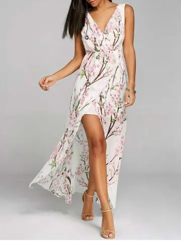 Firstgrabber Flowy Floral V-neck High Slit Chiffon Dress