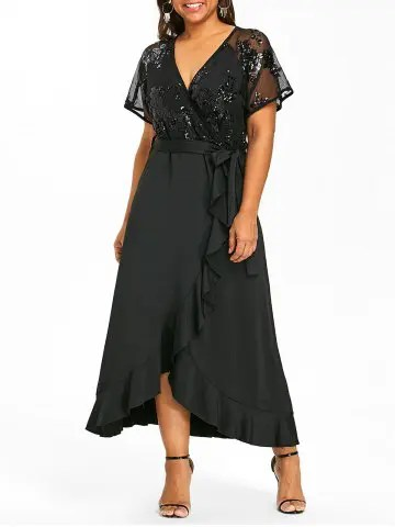 Firstgrabber Belted Plus Size Faux Wrap Maxi Dress