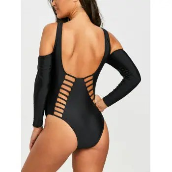 2018 Ladder Cut Out High Leg One Piece Swimsuit Black M In