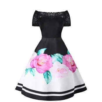 Lace Insert Floral Pin Up Dress