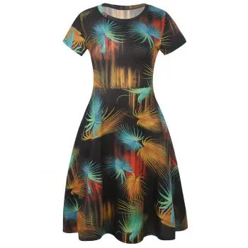 Short Sleeve Fit and Flare Dress