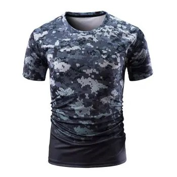Digital Camouflage Print Short Sleeve T shirt