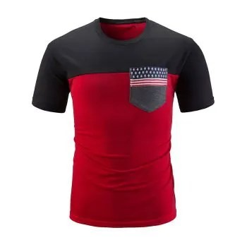 American Flag Print Chest Pocket Panel T shirt