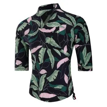 Banana Leaves Print Split Neck Shirt