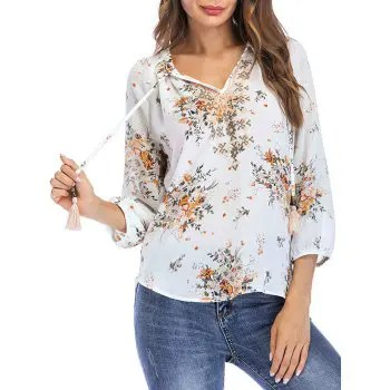 Floral Print Bow Tie Summer Blouse