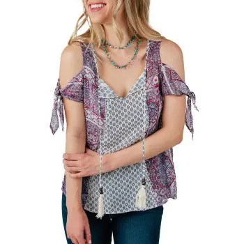 Cold Shoulder Printed Casual Blouse
