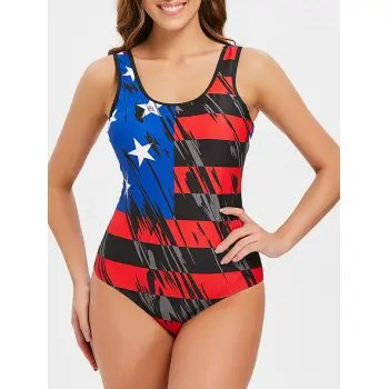 American Flag Low Back Swimsuit
