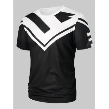 Number Print Two Tone T shirt