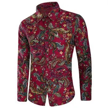 Paisley Floral Print Long Sleeve Shirt