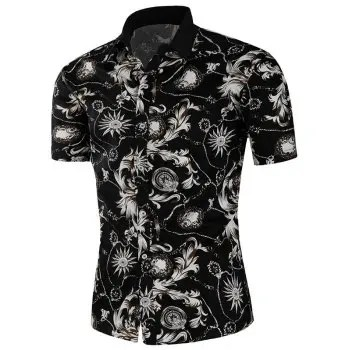 Retro Floral Chain Print Button Up Shirt