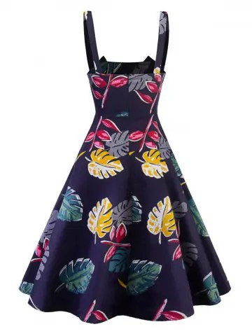 Vintage Tropical Leaf Print Swing Dress