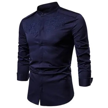 Chest Embroidery Solid Shirt