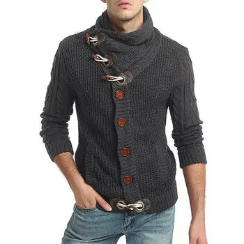 Horn Button Embellished Stand Collar Sweater