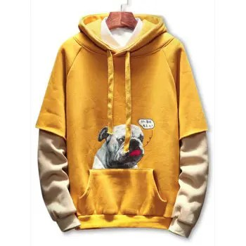Faux Two Pieces Puppy Print Hoodie