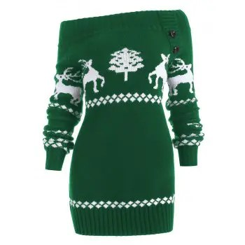 Off The Shoulder Knit Tunic Reindeer Sweater