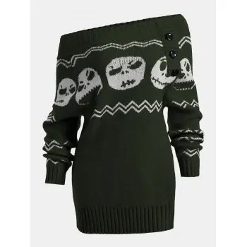 Skull Off The Shoulder Tunic Sweater