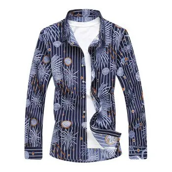 Casual Jellyfish Starfish Print Stripe Shirt