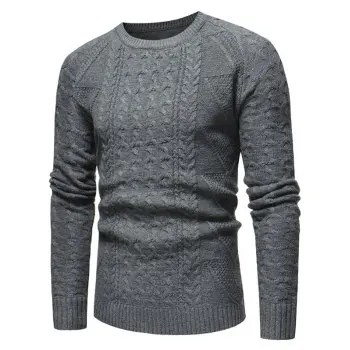 Jacquard Weave Whole Colored Knitted Sweater