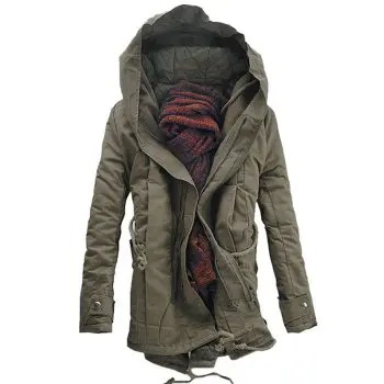 Casual Double Zip Up Hooded Padded Parka Coat