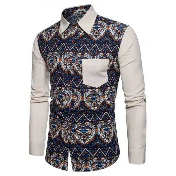 Patch Pocket Ethnic Style Printed Casual Shirt