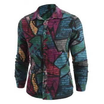 Graffiti Wall Print Button Up Shirt
