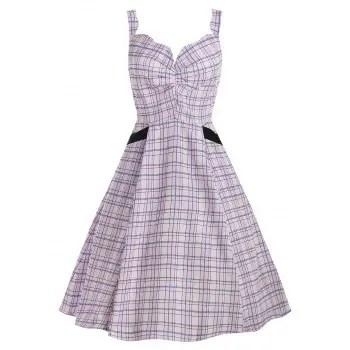 Scalloped Checked Midi Fit and Flare Dress