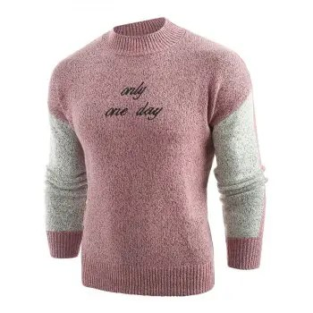 Embroidery Letter Panel Pullover Sweater